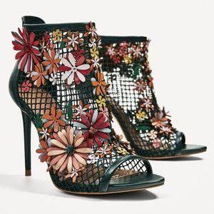 Zara's Floral Mesh Bootie Sandals